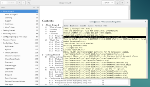 PDF viewer and terminal window with the xelatex command
