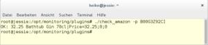 terminal window with the check_amazon plugin output