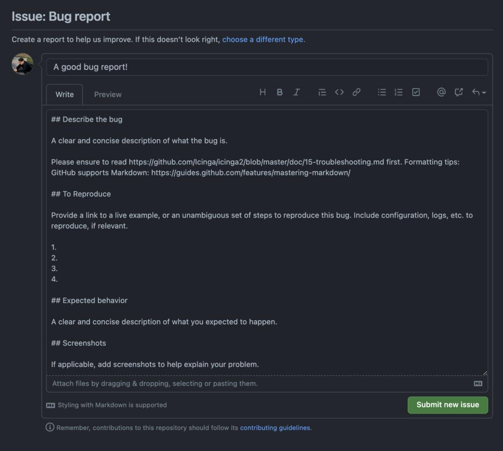 Image of an Icinga2 bug report template
